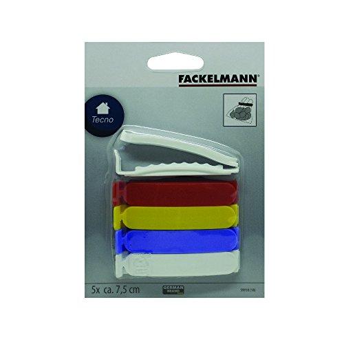 Conjunto 5 Clipes Para SAços de Plástico Fackelmann Branco/Azul/Vermelho Plastico