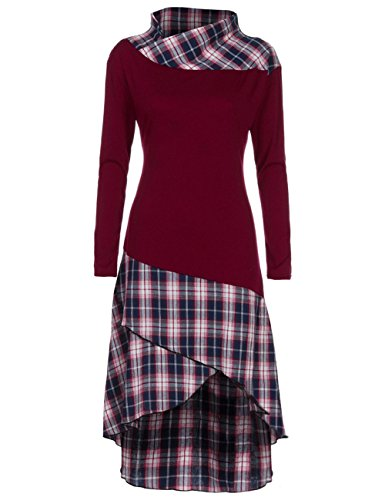 Weant Women Plaid Sweatshirt Dresses High Neck Patchwork Pullover Sweatshirt Plus Size Tops Jumper Womens Sale Clearance Teen Girl T Shirt Dresses Wine Red