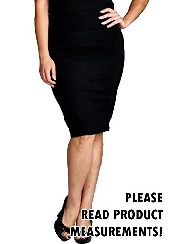 Women's Plus Size Pencil Skirt Slim Fit Dressy Knee Length Classic Basic (1X, Black)
