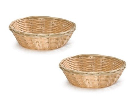 Basket (8-Inch Round Woven Bread Roll Baskets, Food Serving Baskets, Basket, Restaurant Quality, Polypropylene Material - Set of 2)