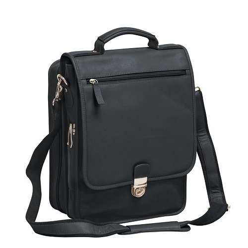 Bellino The Reporter Vertical Leather Briefcase (Bellino) - BLACK by Bellino