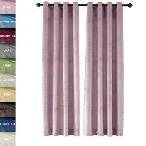 ChadMade Premium Embossed Carving Velvet Window Curtain Drapery Panel Antique Bronze Grommet, Pink 50