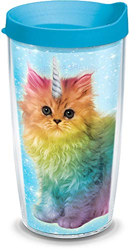 Tervis 1312392 Hallmark Shoebox - Caticorn Insulated Tumbler with Wrap and Turquoise Lid 16oz Clear ()