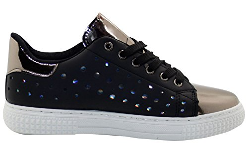 Ladies Shiny Metallic Plimsolls Flats Leather Pumps Trainers Black GaSeJSE