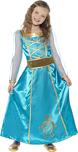Smiffy's Children's Medieval Maid Costume, Dress, Headband, Ages 7-9, Size: Medium, Color: Turquoise,
