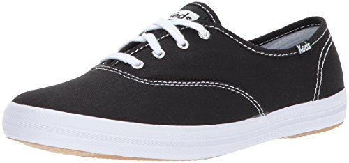 Keds Women's Champion Original Canvas Lace-Up Sneaker, Black/White, 8.5 M US