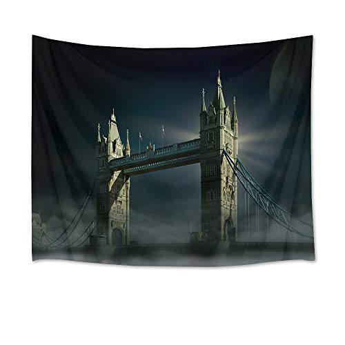 HVEST London Tapestry Nature Tapestry Wall Hanging Tower Bridge with Fog Scenery Wall Blankets for Bedroom Living Room Dorm Decor,60Wx40H inches