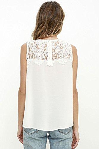 QIYUN.Z Las Camisetas Sin Mangas Del Chaleco Del Cordón De La Gasa Del Color Sólido De Las Mujeres Conceden Las Camisetas Blanco