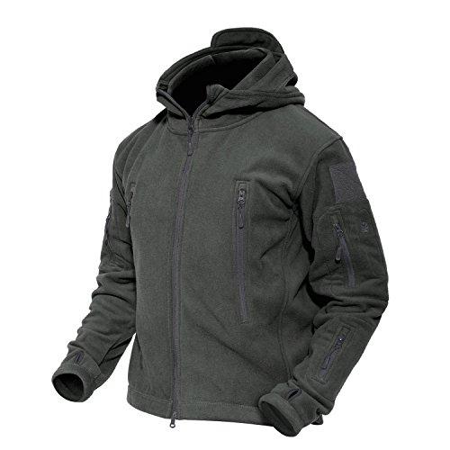 MAGCOMSEN Men's Hoodie Fleece Jacket 6 Zip-Pockets Warm Winter Jacket Military Tactical Jacket