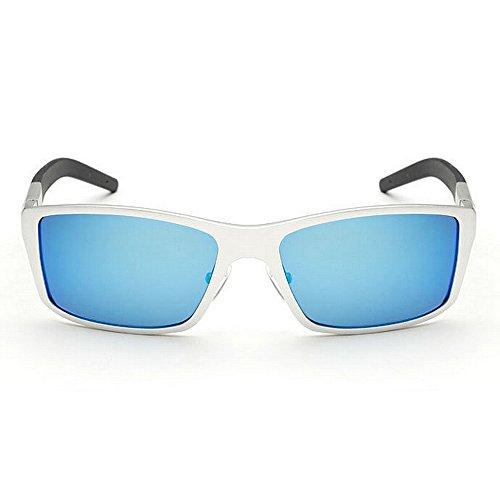 Deux lentille Blue Lunettes Réfléchissante Style de Unisexe Vintage Couleur Tons Yxsd Soleil Rétro UV400 Protection Blue Classique Cadre dxtaXw1X