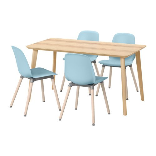 Ikea Table and 4 chairs, ash veneer, light blue 18204.11211.346 (Ikea Furniture Dining Sets Room)