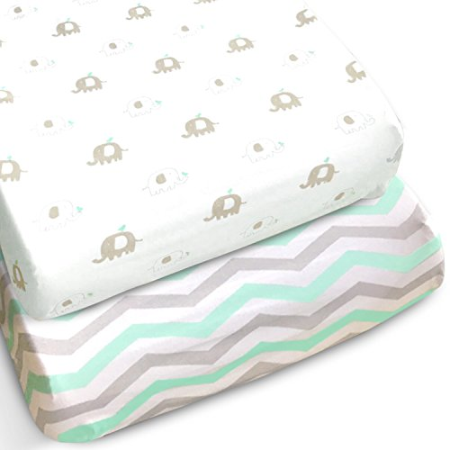 Changing-Pad-Covers-2-Pack-Extra-Soft-Jersey-Cotton-Gray-and-Mint-Chevron-with-Elephants-TOP-QUALITY-Nursery-Bedding-for-Boy-and-Girl