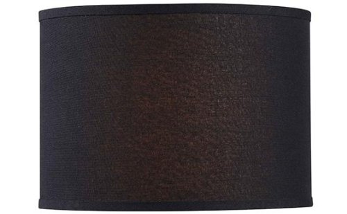 "Drum Lamp Shade, 14"" LINEN, BLACK"