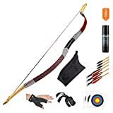 KAINOKAI Traditional Handmade Longbow Horsebow Hunting Recurve Archery Bow Recurve Bow Set (Red Dragon, 35.0 Pounds)