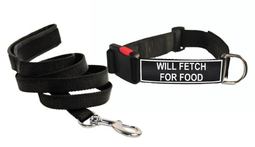 Dean & Tyler ''Will Fetch for Food'' Small Black Patch Collar with Matching Padded Puppy Leash by Dean & Tyler