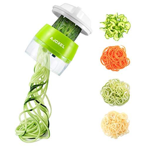 AJOXEL Vegetable Spiralizer Handheld, 4 In 1 Vegetable Slicer Vegetable Chopper Courgette Spiralizer Kitchen Gadgets for…