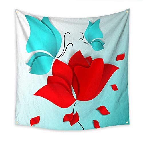 Hanging Tapestry Paper cut style red flower blue butterflies and flying petals vector card day happy spring summer love flora design mother day Valentine s wedding wallpaper pattern Be 47W x 47L Inch