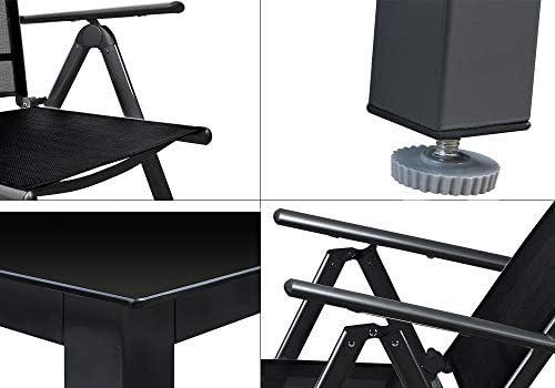 Deuba conjunto de jard/ín juego de mesa y sillas plegables de aluminio Negro para 4 personas interior o exterior terraza