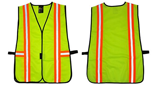Purpose High Visibility Vest - GF Gloves 41112-20 Safety Vest with Reflective Strips, Meets ANSI/ISEA Standards, One Size, Neon Lime Green (Pack of 20)