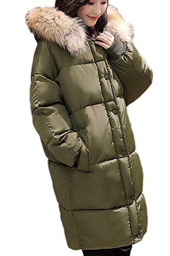 Con Fur Suelto Mujer Lined Capucha Espesar Capa Navygreen Externa Casual De Invierno Cálido Parkas La Faux gzwx1SqXw