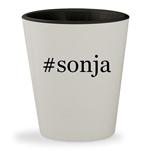 #sonja - Hashtag White Outer & Black Inner Ceramic 1.5oz Shot Glass (Red Sonja Costume)