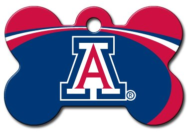 dogIDS Personalized Laser Engraved 1.5 x 1 inch Arizona Wildcats Bone Shape Pet ID Tag- Free Tag Silencer