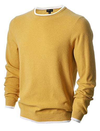 Links Stitch Sweater - AFAIK Men's Long Sleeve Pullover Crew Neck Cotton Knitted Casual Sweater (Large, 1019-Rainbow Yellow)