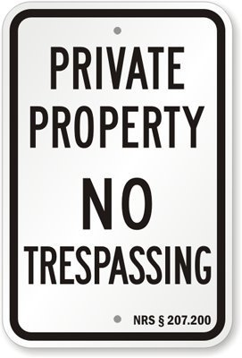 Amazon.com: Propiedad Privada – no trespassing – NRS § 28 ...