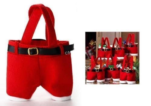 ANGELS--CHRISTMAS PARTY RED XMAS CANDY BAG SANTA CLAUS PANTS ELF FILLER TROUSERS GIFT