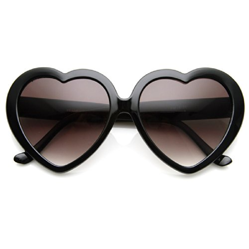 Large Oversized Womens Heart Shaped Sunglasses Cute Love Fashion Eyewear (Black) -