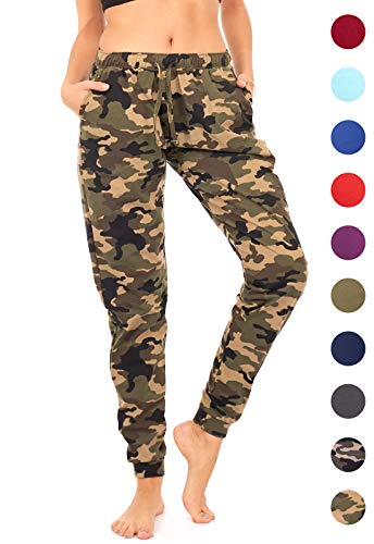 Camo Sparkle (DEAR SPARKLE Jogger with Pockets for Women Drawstring Lightweight Sweats Yoga Lounge Pants + Plus Size (P7) (Camo, X-Large))