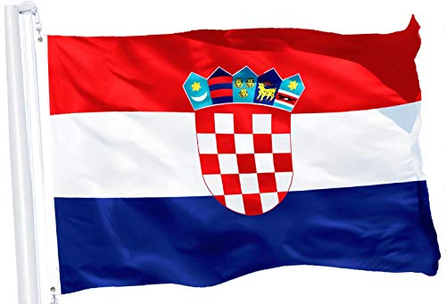 - G128 - Croatia Croatian Flag 3x5 ft Printed Brass Grommets 150D Quality Polyester Flag Indoor/Outdoor - Much Thicker More Durable Than 100D 75D Polyester