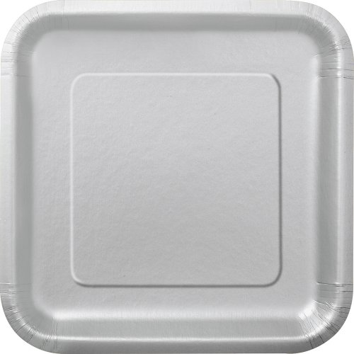 Square Silver Paper Cake Plates, 16ct (Small Cake Plate)