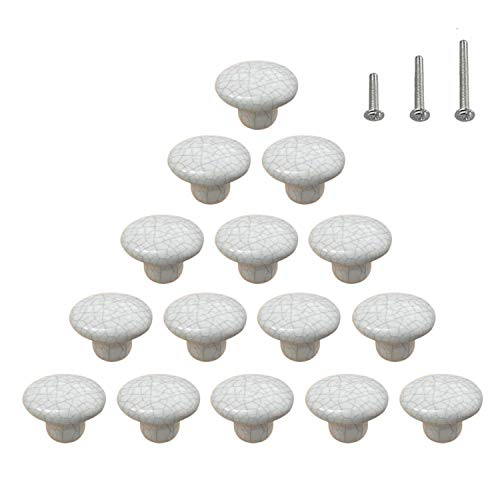 15PCS Ceramic Knobs Crack Pattern Cabinet Dresser Pulls Vintage Door Handles Round Cupboard Wardrobe Drawer Glossy Ivory, Dia. 1.5 inch (38mm)