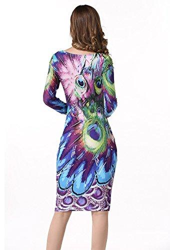 796c9013766c Cocktail Elegante Estate A Stile Stampa Primavera 12 Abito Festa Manica  Girocollo Lunga Sexy Linea Da Vestiti Minetom Dress Donna Vestito Casual  FJKclT1