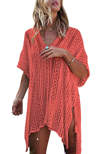 Infinilla Women's Swimsuit Cover Up Summer Crochet Bathing Suit Swimwear Bikini Beach Coverup Dress - Skirt Coral Suit