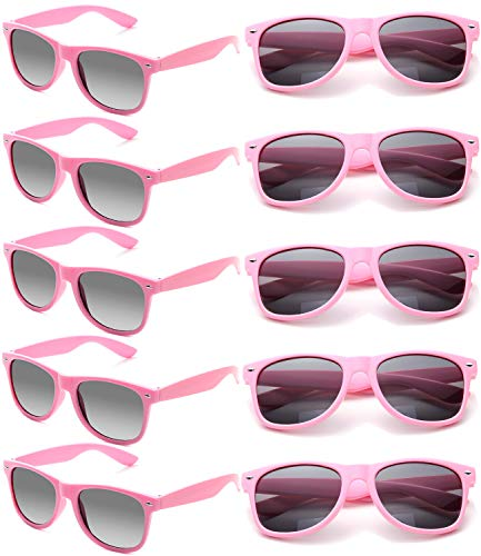 Wholesale Unisex 80'S Retro Neon Party Favor Sunglasses Bulk for Adults 10 Pack (Pink)]()