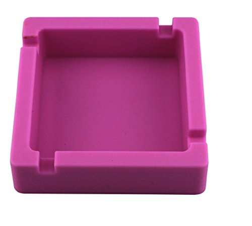 Colorful Premium Silicone Heat Resistance Square Cigarette Ashtray Home Office Ashtray (Pink)