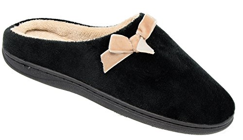 Ladies Coolers Black Fleece Lined Padded Mule Slippers Sizes 3 to 8 X2eq0