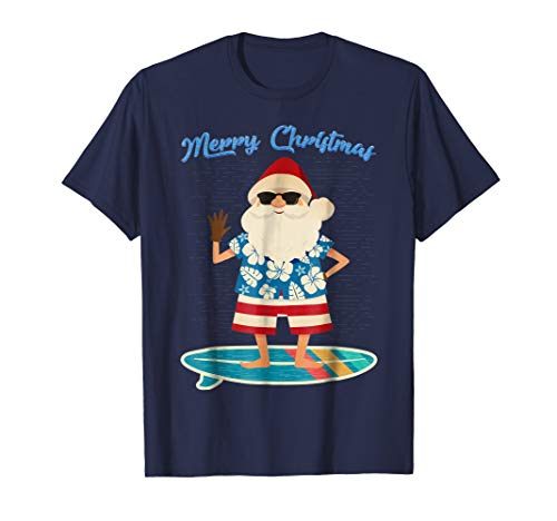 Hawaiin Blue Flowers (Retro Santa Claus Surfing Hawaiian T-Shirt Summer Christmas)