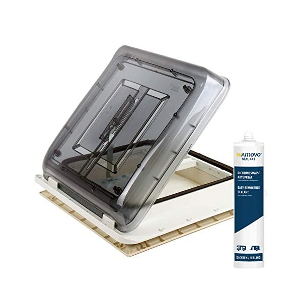 41LNKZFQUML Fiamma Dachfenster Vent 40x40 cm Klar + Dekalin Dichmittel + Schrauben für Wohnwagen Oder Wohnmobil