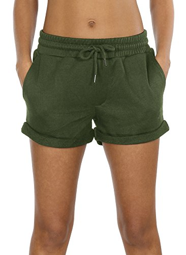 icyzone Workout Lounge Shorts for Women - Athletic Running Jogging Cotton Sweat Shorts (Army Green, L) (American Short Women Eagle)