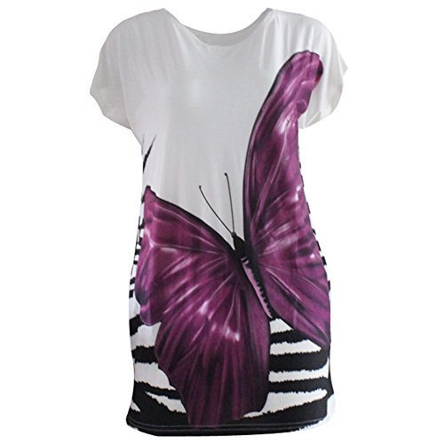 Women Summer Ice Silk Short Sleeve Loose Fit Butterfly Print Tunic T-shirts (Butterfly Short Sleeve Shorts)