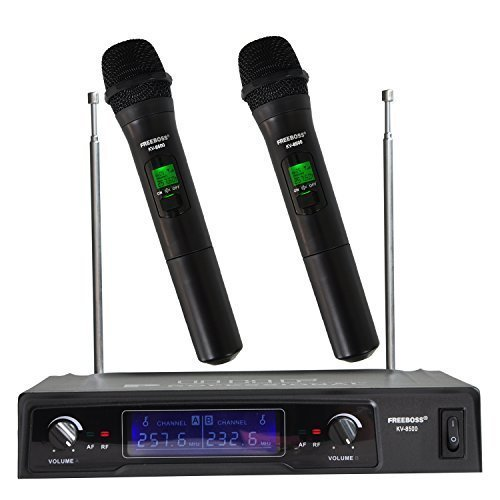 Dynamic Mic Capsule - Freeboss KV-8500 VHF 2 Handheld Wireless Microphone Dynamic Capsule Family Party Balanced+Unbalanced Output Wireless Microphone(Black)(without recharge)