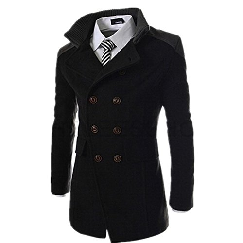 Susanny Autumn Winter Outerwear Jacket Double Breasted Overcoat Men Coats With High Collars XL (Double Breasted Jacket)
