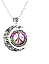 Peace Sign Symbol Pendant Forum Novelties Women's Groovy Peace Medallion jewelry Peace Sign Necklace gift