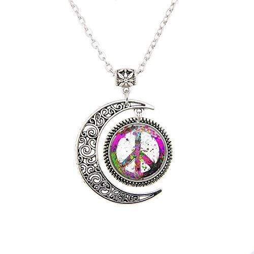 Peace Sign Symbol Pendant Forum Novelties Women's Groovy Peace Medallion jewelry Peace Sign Necklace (Peace Sign Medallion)
