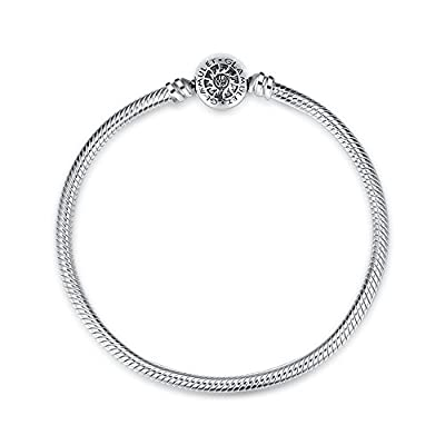 Glamulet 925 Sterling Silver Snake Bracelet Snap Clasp Fits Pandora Charms Beads Ideal Gift by Glamulet
