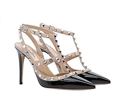 a2fa80b2edb Valentino Garavani Women s Rockstud Rolling Noir 100MM Heeled Sandals (38  ...
