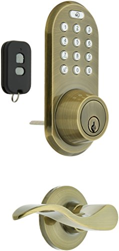 MiLocks XFL-02AQ Digital Deadbolt Door Lock and Passage Lever Handle Combo with Keyless Entry via Remote Control and Keypad Code for Exterior Doors, Antique Brass MiProducts Corporation